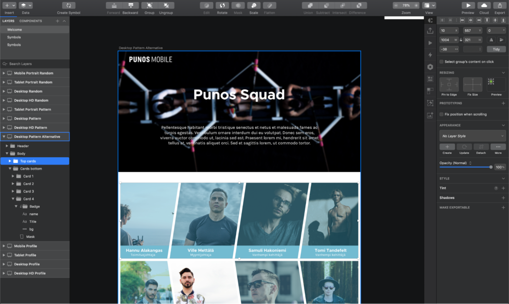 A draft of the Punos Squad webpage in Sketch.