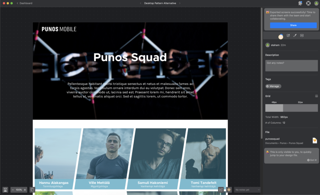 An image of Zeplin with the Punos Squad web page draft.