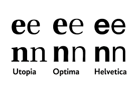 Comparisons between Utopia, Optima and Helvetica