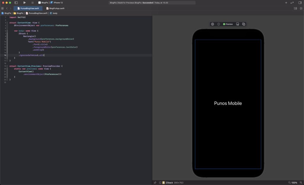SwiftUI Xcode näkymä